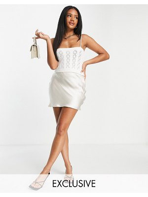MISSGUIDED set pointelle cami top in white