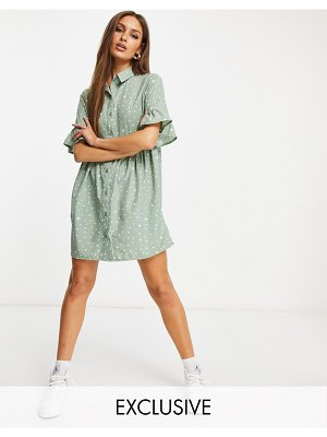 MISSGUIDED shirt dress with ruffle cuffs in sage-green
