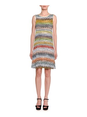 Missoni Crewneck Sleeveless Multi-Stripe Knit A-Line Dress