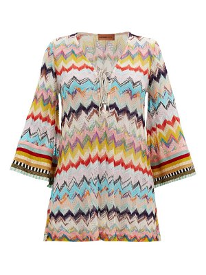 Missoni lace-up zizag-knitted cover up