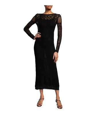 Missoni Long-Sleeve V-Back Knit Maxi Dress