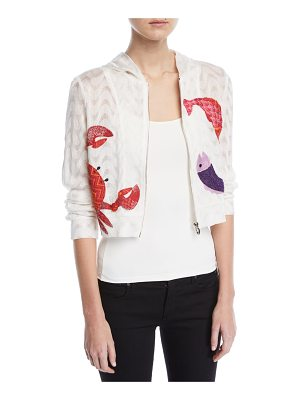 Missoni Mare Hooded Embroidered Long-Sleeve Swim Coverup
