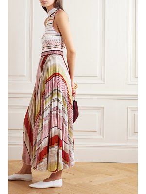 Missoni pleated striped metallic crochet-knit midi dress