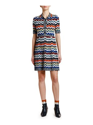Missoni Pleated Zigzag Polo Dress