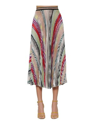 Missoni Striped knit lamé midi skirt w/ pleats