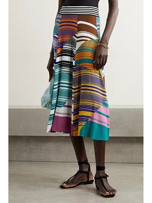Missoni striped ribbed cotton and wool-blend midi skirt