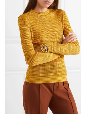 Missoni striped ribbed crochet-knit sweater