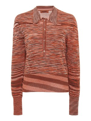 Missoni striped ribbed knit polo top