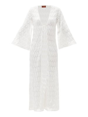 Missoni tie front embroidered crochet-knit robe