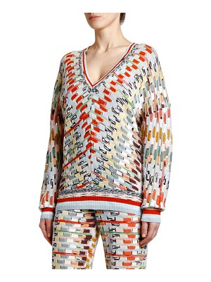 Missoni V-Neck Open Weave Space-Dye Sweater