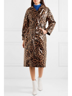 Miu Miu belted leopard-print glossed-pu cotton trench coat