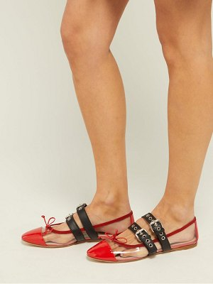 Miu Miu buckle-fastening plexi and leather ballet flats