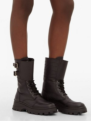 Miu Miu buckled lace up grained leather boots