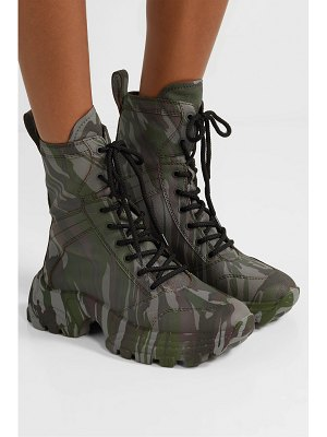 Miu Miu camouflage-print textured-leather ankle boots