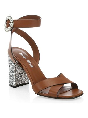Miu Miu city leather glitter-heel sandals