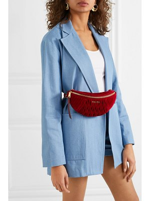 Miu Miu convertible leather-trimmed matelassé velvet belt bag
