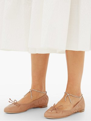 Miu Miu crystal-anklet leather ballet flats