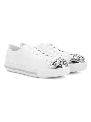 Miu Miu Crystal-embellished leather sneakers
