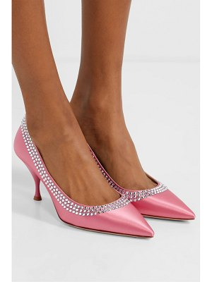 Miu Miu crystal-embellished satin pumps