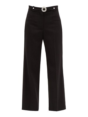 Miu Miu crystal embellished tailored wool blend trousers