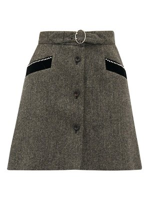 Miu Miu crystal embellished wool herringbone mini skirt