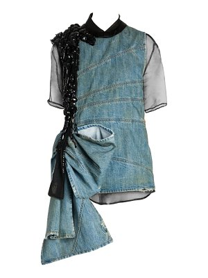 Miu Miu denim sleeveless beaded mini dress