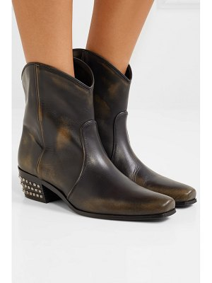 Miu Miu distressed studded leather ankle boots
