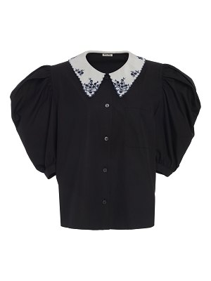 Miu Miu embroidered collar button down top