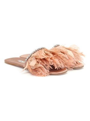 Miu Miu feather-trimmed slides