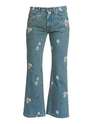 Miu Miu floral-embroidered cropped flare jeans