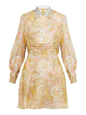 Miu Miu floral print crystal collar georgette mini dress