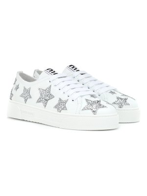 Miu Miu glitter leather sneakers