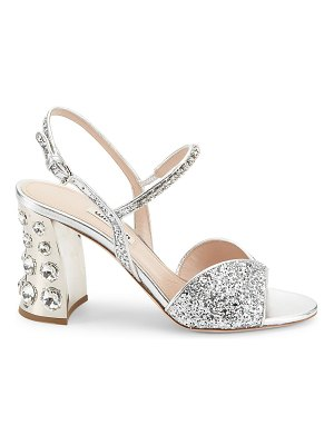 Miu Miu jewelled block-heel glitter slingback sandals