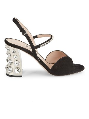 Miu Miu jewelled block-heel suede slingback sandals