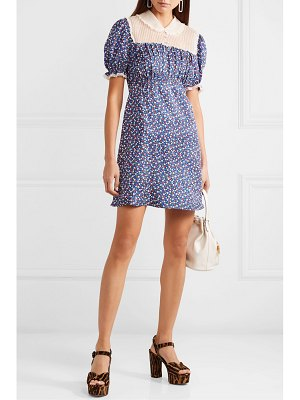Miu Miu lace-trimmed floral-print silk-satin and silk-georgette mini dress