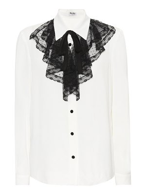 Miu Miu Lace-trimmed silk shirt