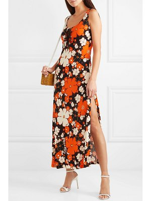 Miu Miu lace-up floral-print stretch-jersey maxi dress