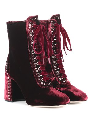Miu Miu lace-up velvet ankle boots