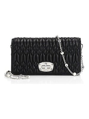 Miu Miu matelasse leather crystal chain shoulder bag