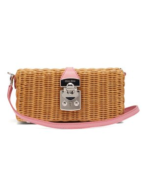 Miu Miu leather-trimmed wicker bag