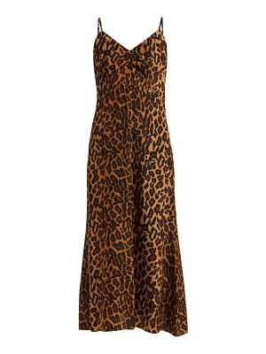 Miu Miu leopard print low back silk midi dress