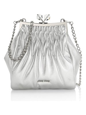 Miu Miu matelassé metallic leather frame clutch