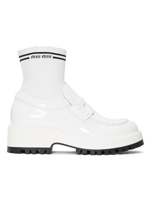 Miu Miu white patent sock loafers