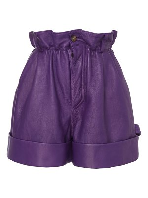 Miu Miu pleated leather shorts
