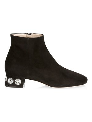 Miu Miu rocchetto studded heel suede ankle boots