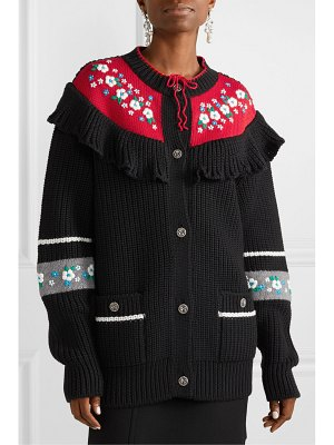 Miu Miu ruffled embroidered wool cardigan