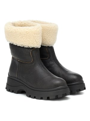 Miu Miu shearling and leather ankle boots
