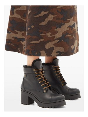 Miu Miu shearling lined leather ankle boots