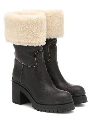 Miu Miu shearling-trimmed ankle boots
