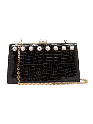 Miu Miu solitaire crystal embellished leather clutch